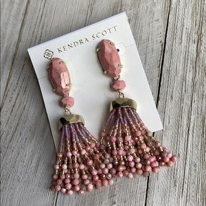 Kendra Scott Dove Tassel Earrings Pink & Gold NEW